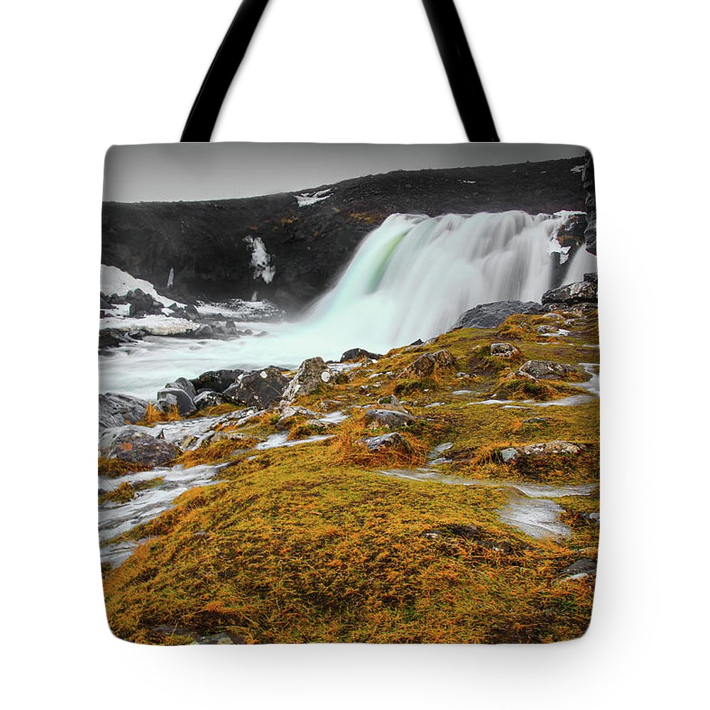 Waterfalls Tote Bag featuring the photograph Waterfalls Of Iceland by Chantelle Flores