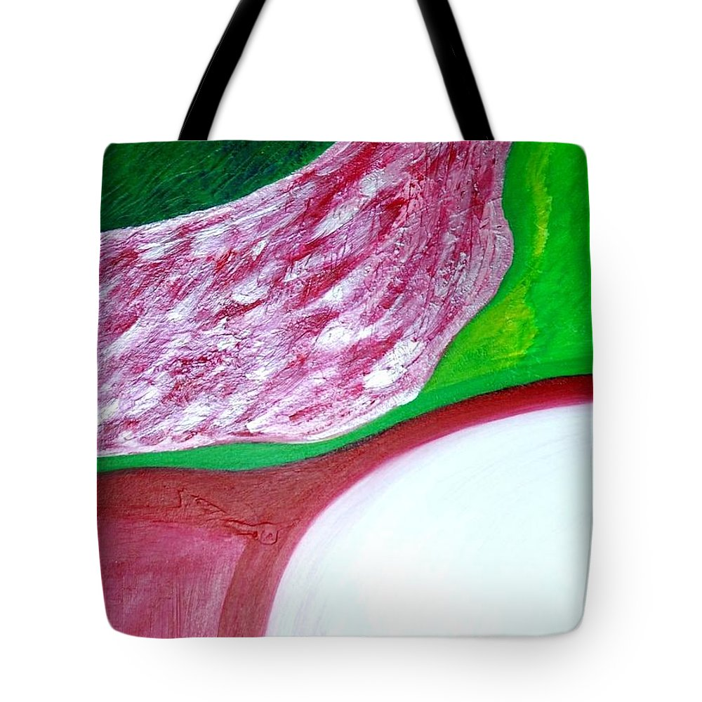 Red Pink White Green Yellow Abstract Painting Tote Bag featuring the painting Waterfalls by Svitlana Morhunov