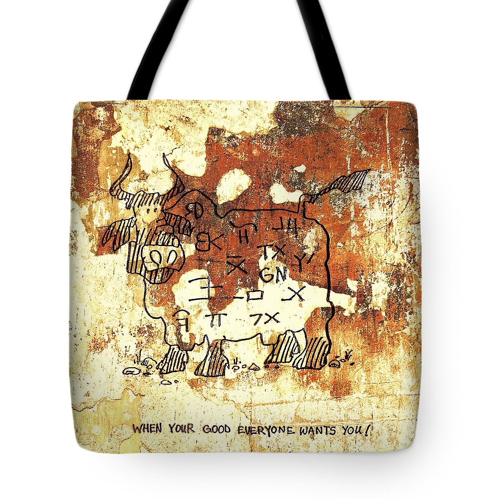 Beef Cartoon Tote Bag featuring the photograph When Your Good by Larry Campbell