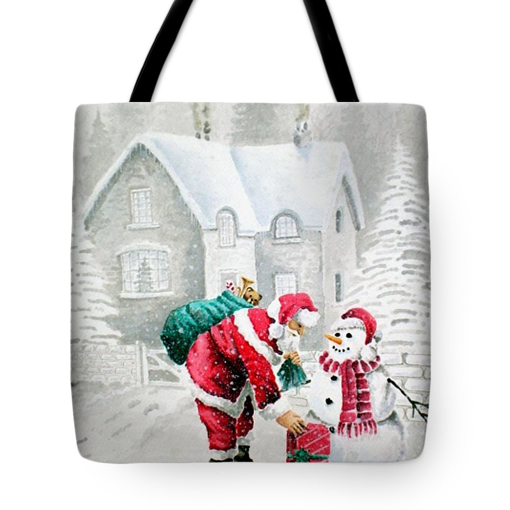 Christmas Tote Bag featuring the painting White Christmas by Jimmy Smith