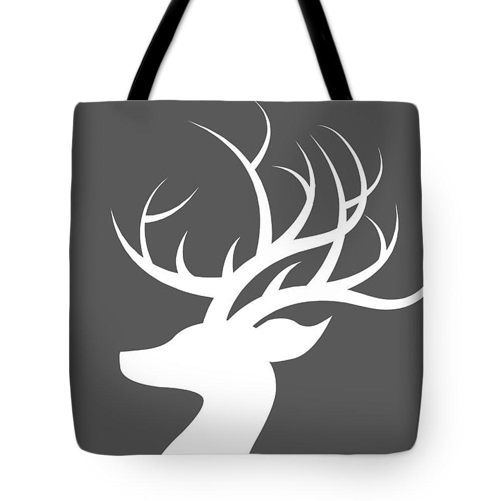 White Deer Silhouette Tote Bag featuring the digital art White Deer Silhouette 1 by Chastity Hoff