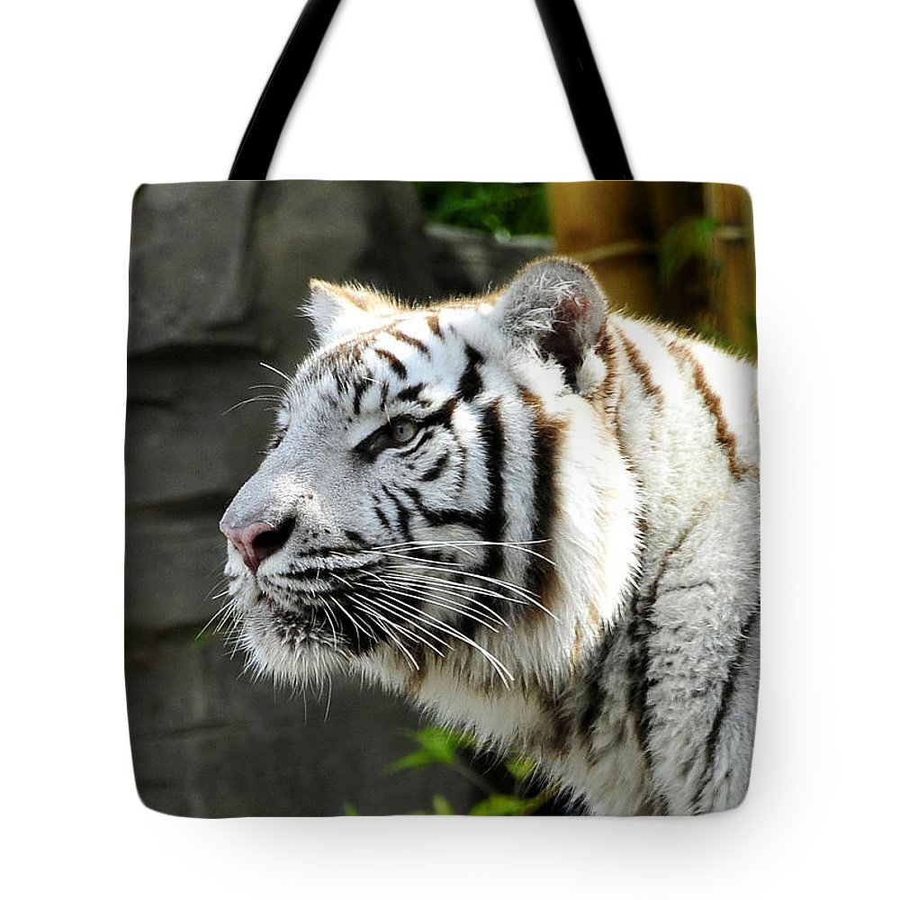 Tiger Tote Bag featuring the photograph White Tiger by David Lee Thompson