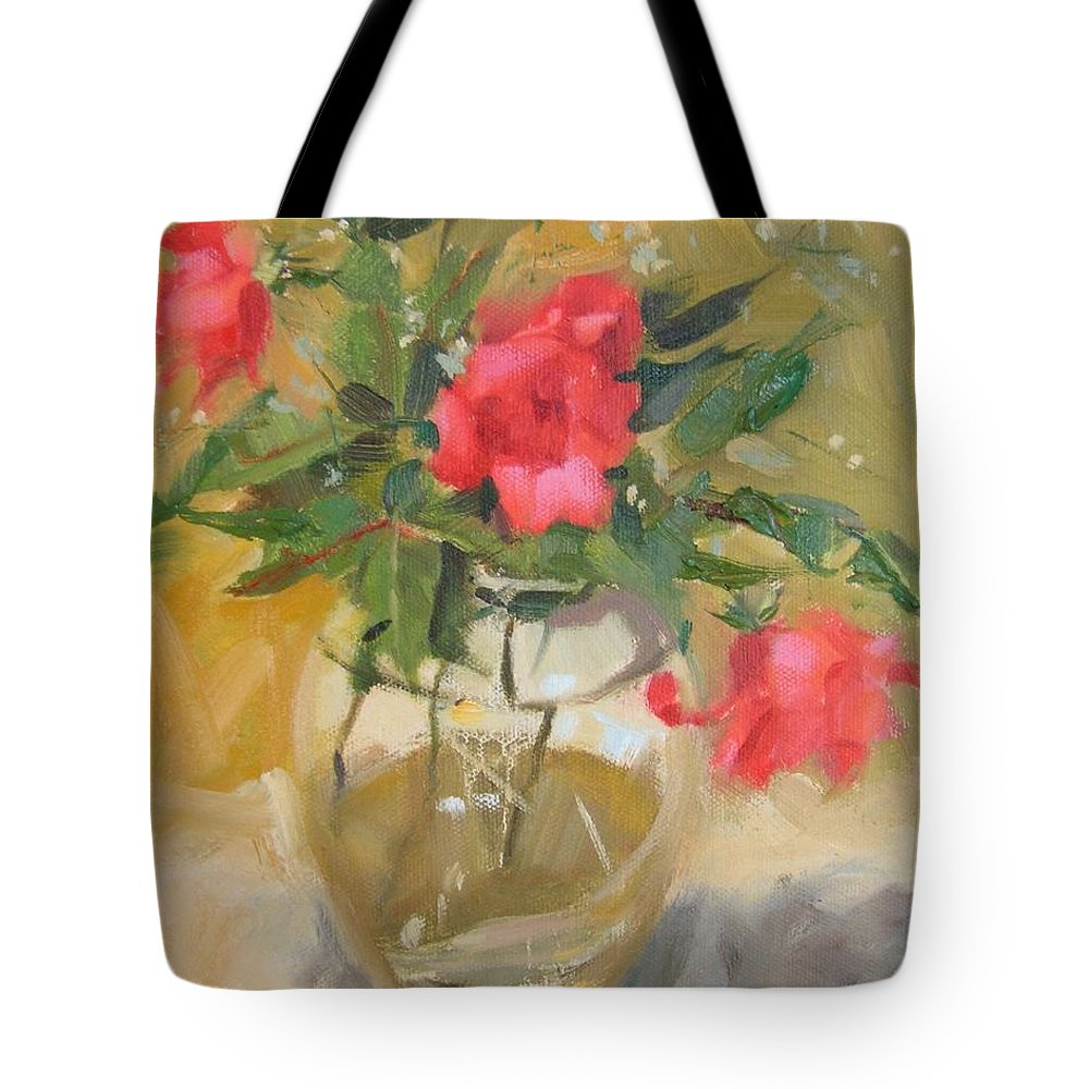 Wild Roses Tote Bag featuring the painting Wild Roses by Margaret Aycock