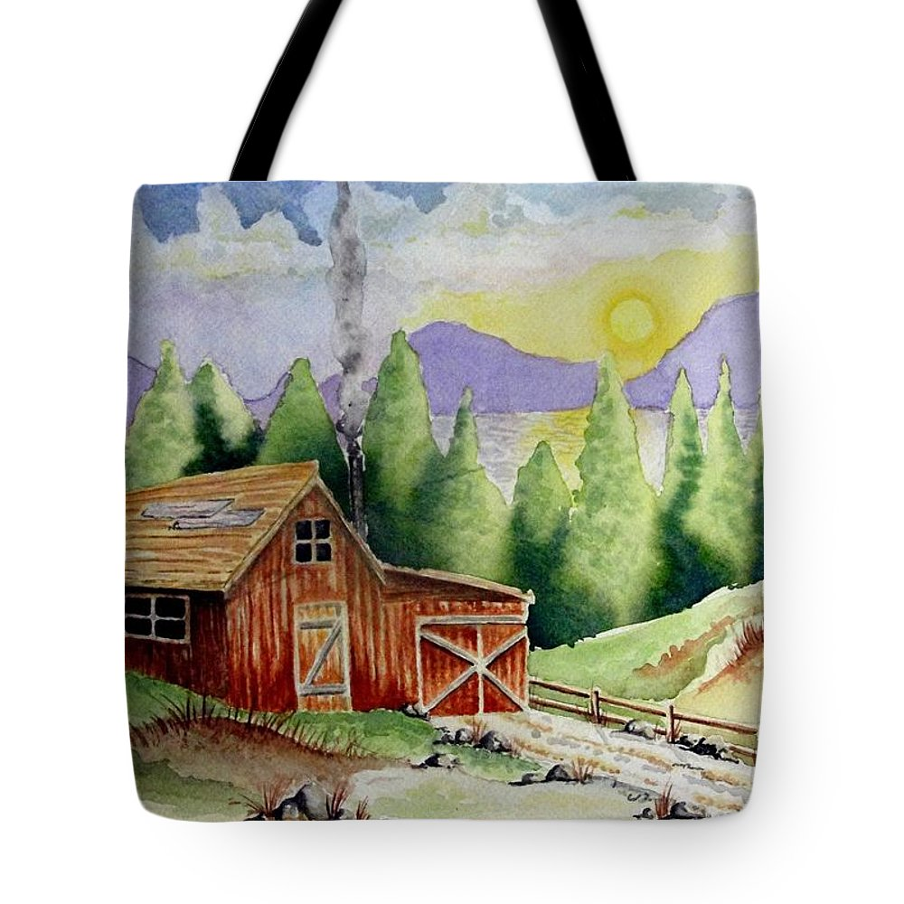 Cabin Tote Bag featuring the painting Wilderness Cabin by Jimmy Smith