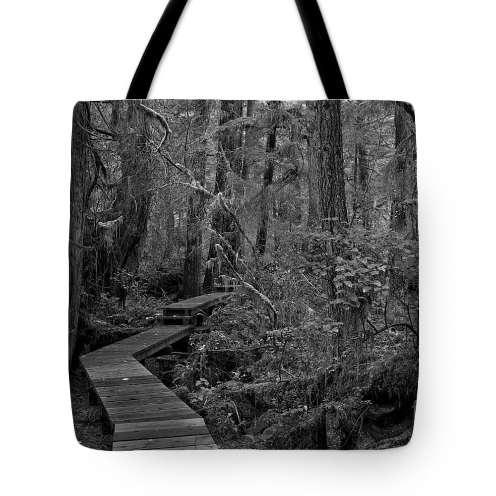 Black And White Tote Bag featuring the photograph Willowbrae Rainforest Black And White 1 by Adam Jewell