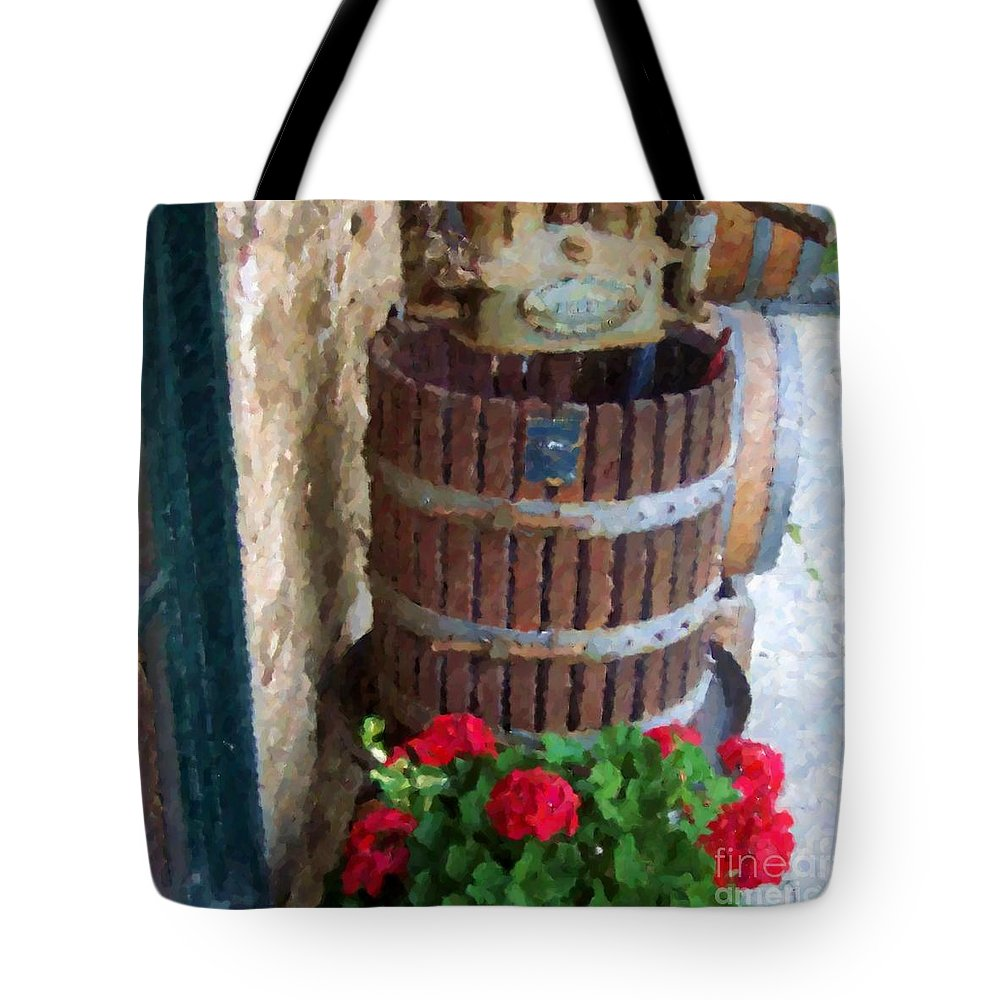 Geraniums Tote Bag featuring the photograph Wine And Geraniums by Debbi Granruth