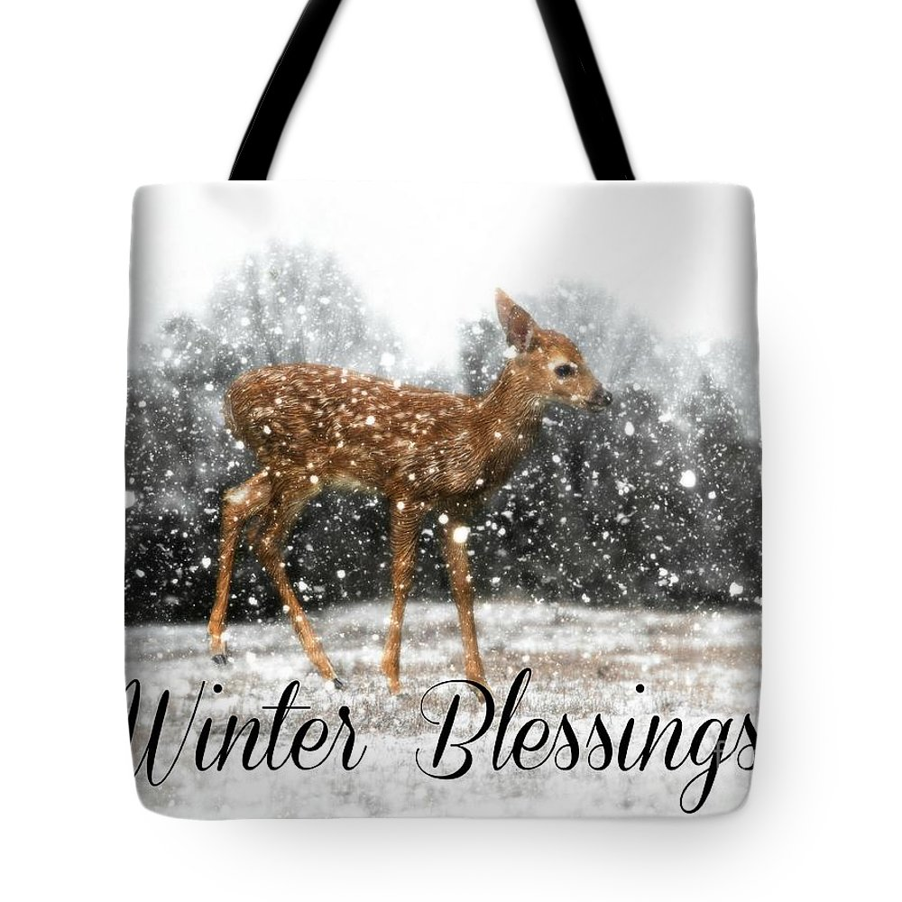 Fawn Tote Bag featuring the photograph Winter Blessings by Lisa Hurylovich