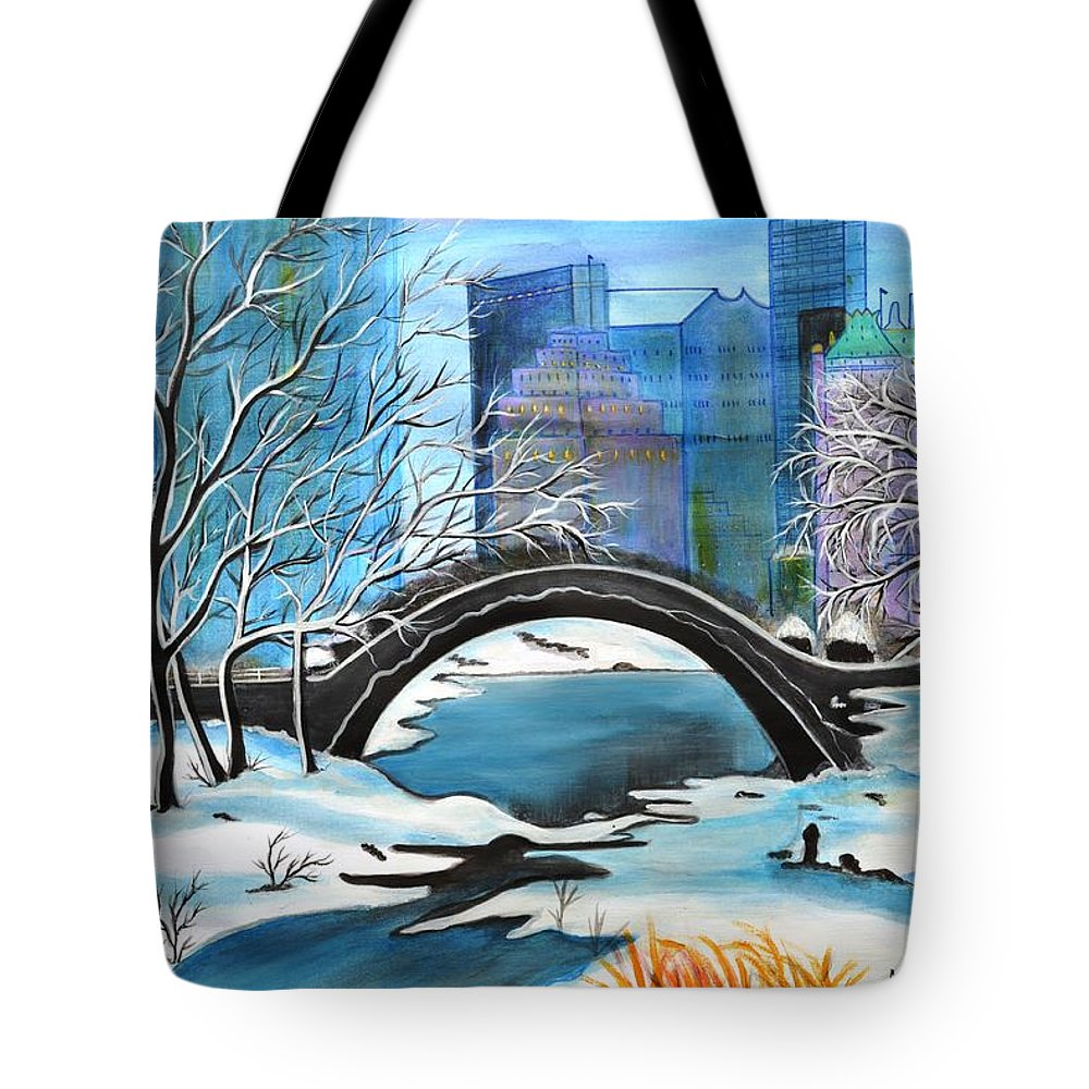 Winter Tote Bag featuring the painting Winter in New York II by Manjiri Kanvinde
