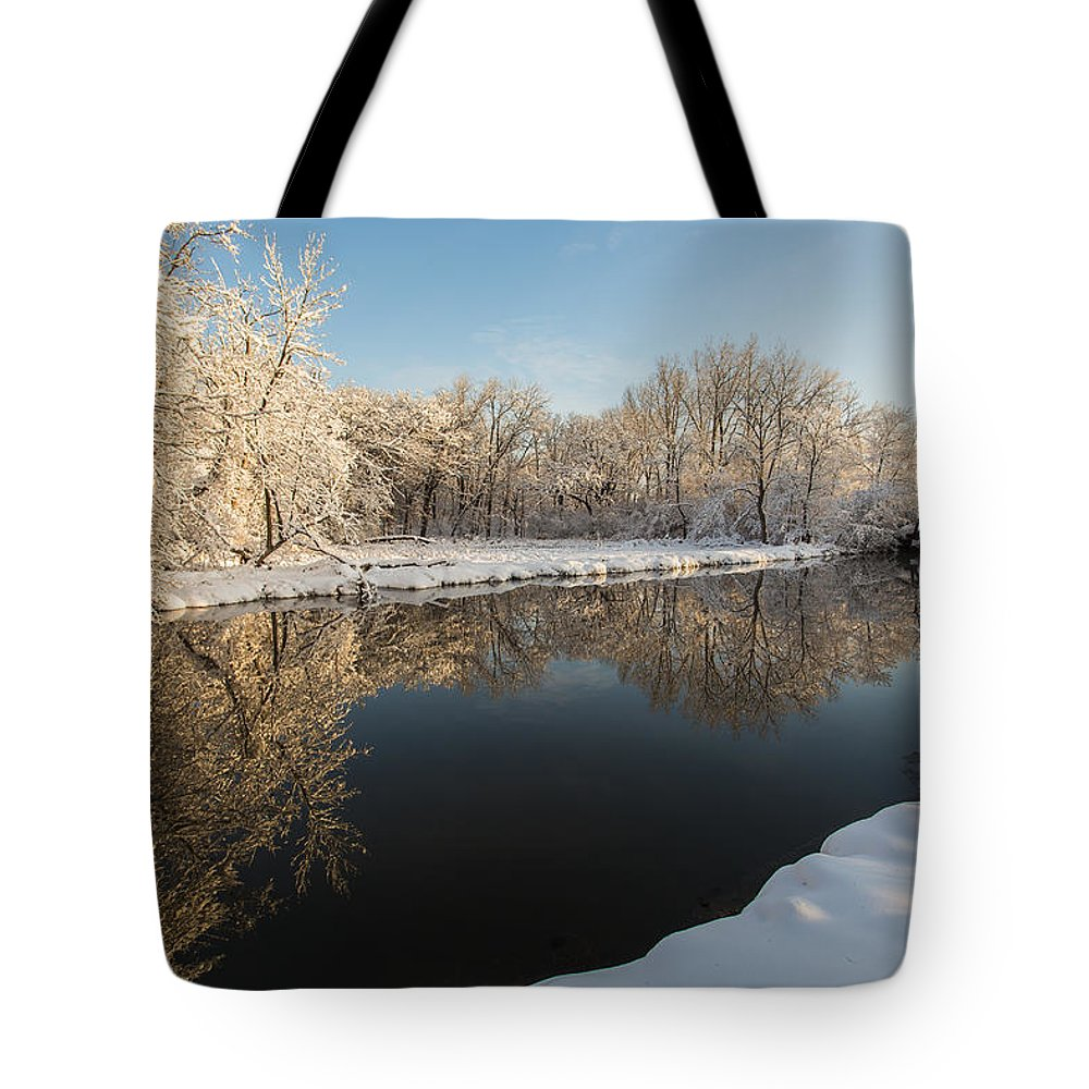 Snow Tote Bag featuring the photograph Winter Reflections by Lauri Novak