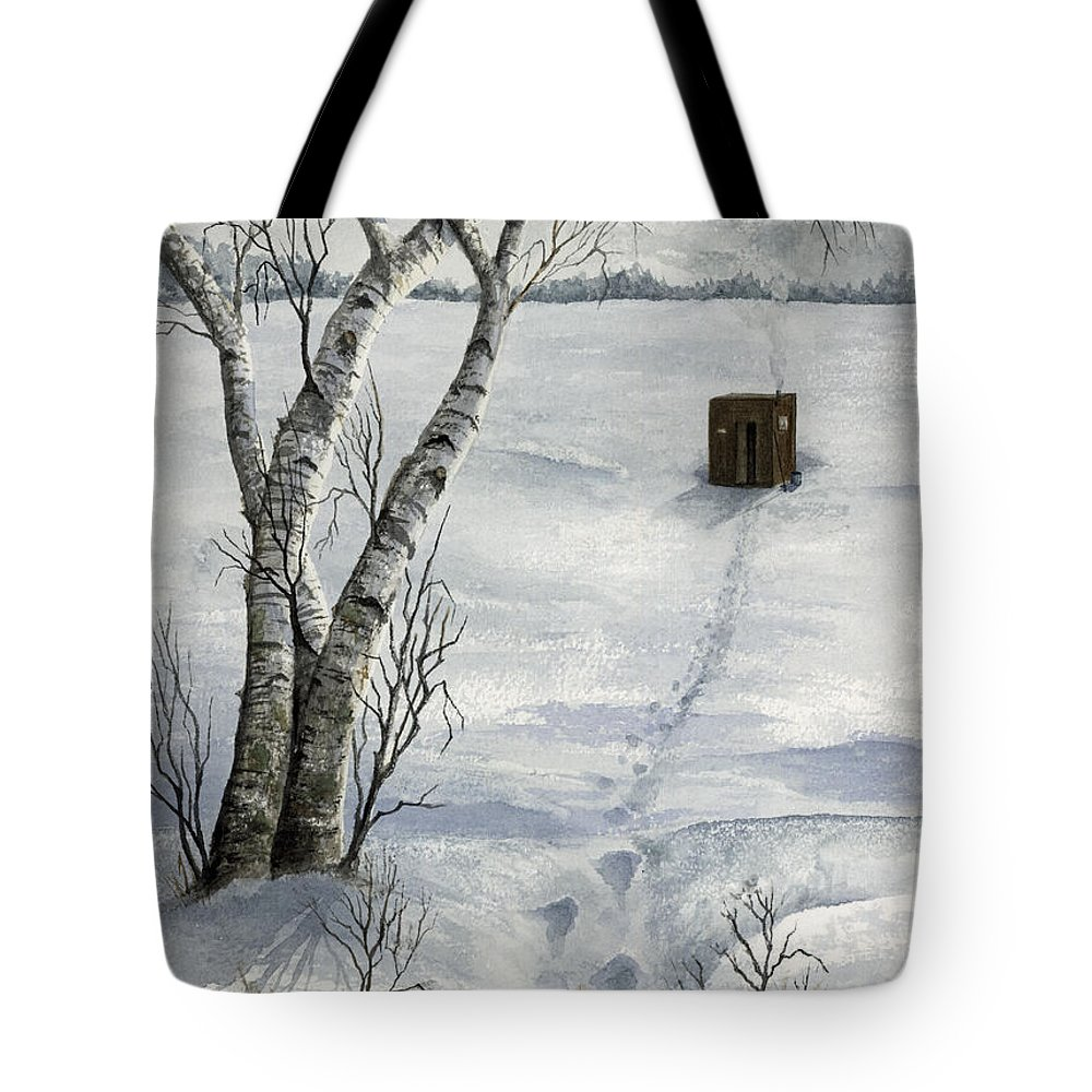 Fishing Tote Bag featuring the painting Winter Splendor by Mary Tuomi
