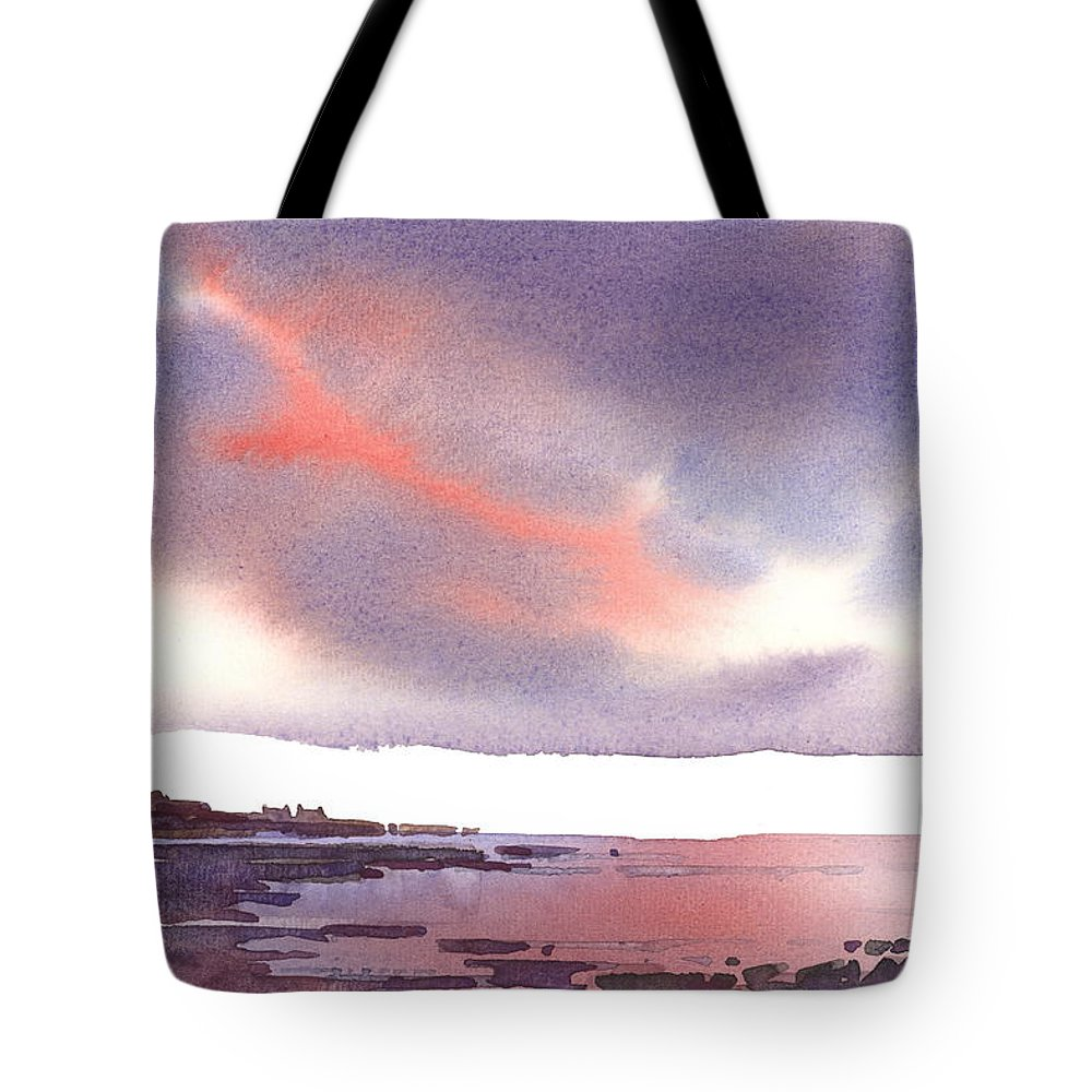 Landscape Tote Bag featuring the painting Winter Sunset by Brigitte Hayden