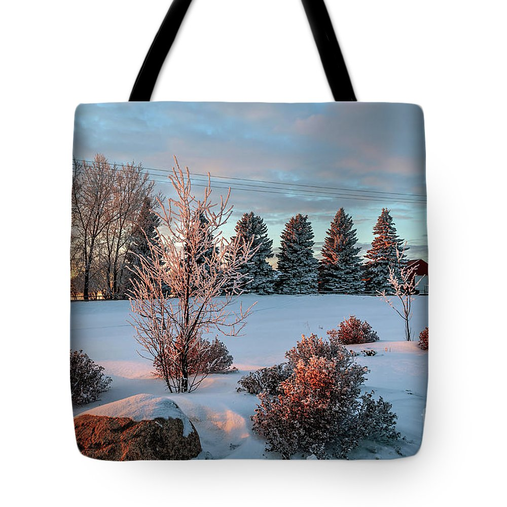 Winter Tote Bag featuring the photograph Winter Sunset In Weyburn by Viktor Birkus