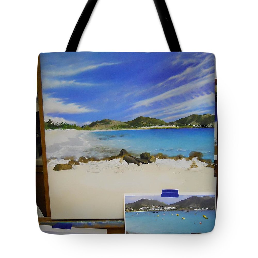 Tote Bag featuring the painting Wip- Orient Beach by Cindy D Chinn