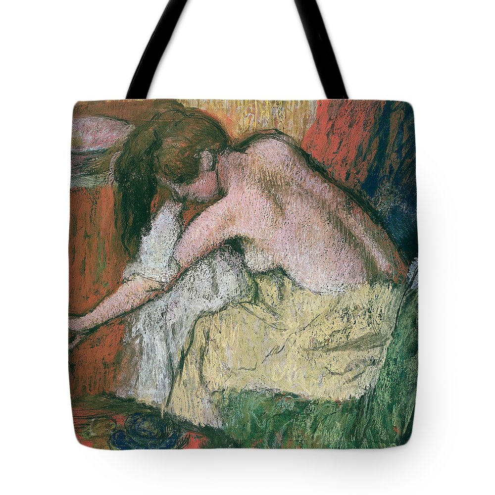 Woman Tote Bag featuring the pastel Woman Drying Herself by Edgar Degas