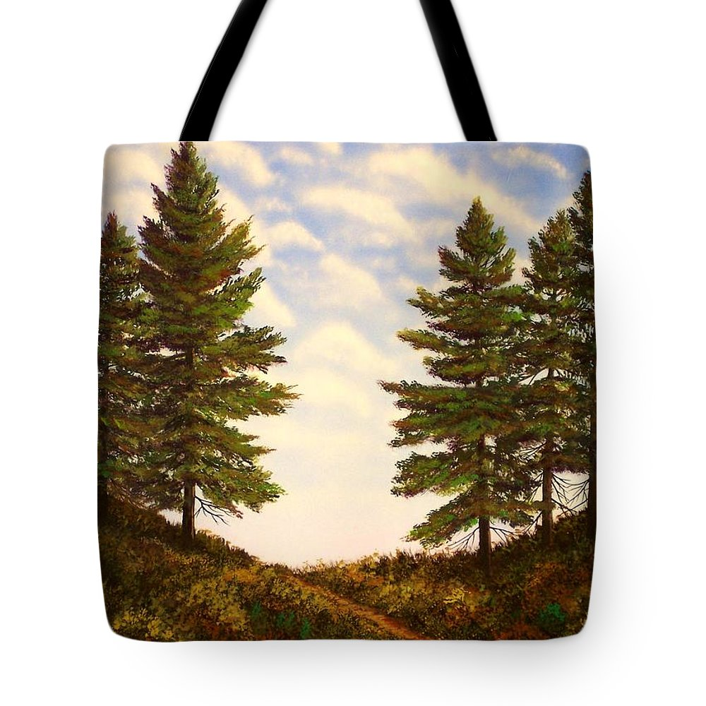 Wooded Path Tote Bag featuring the painting Wooded Path by Frank Wilson