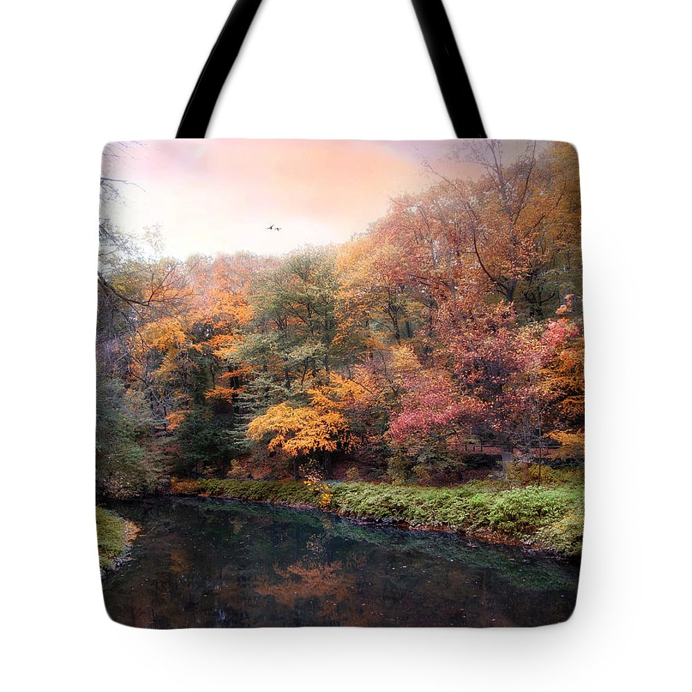 Autumn Tote Bag featuring the photograph Woodland River by Jessica Jenney