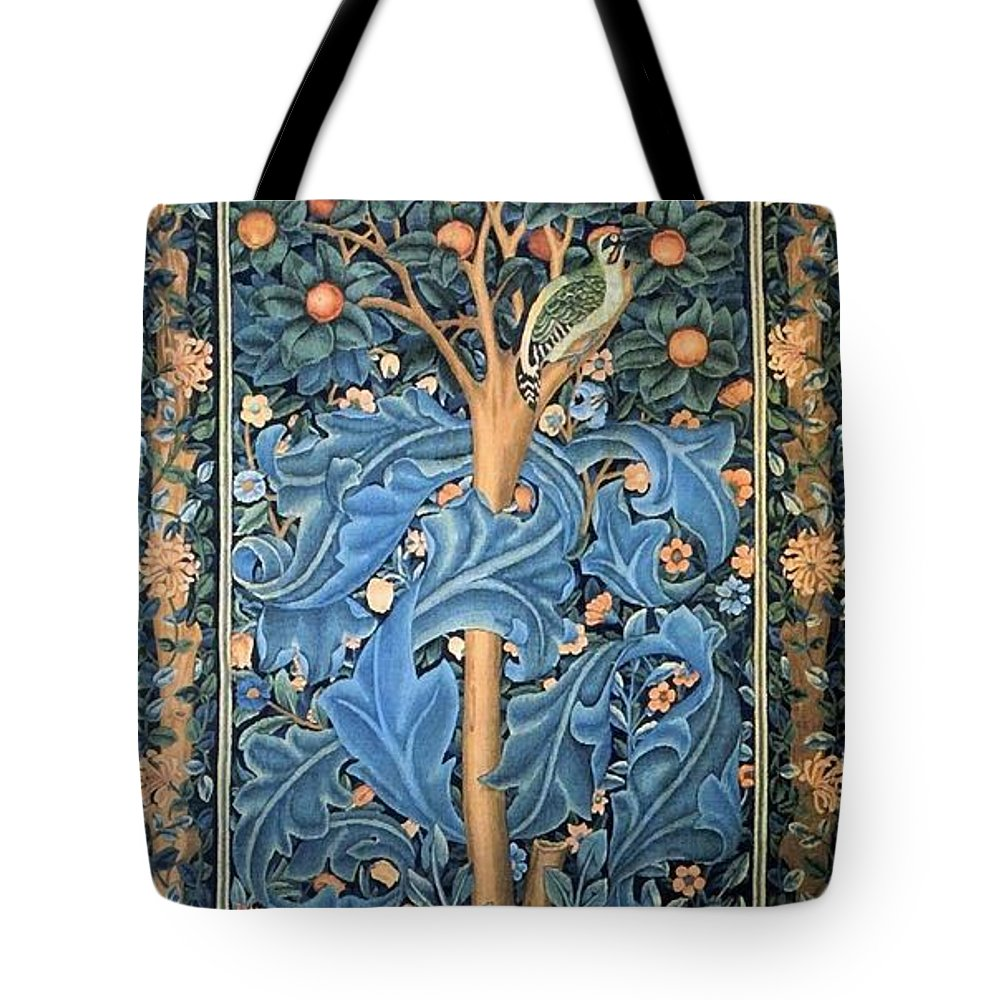 William Morris Tote Bag featuring the painting Woodpecker Tapestry by William Morris