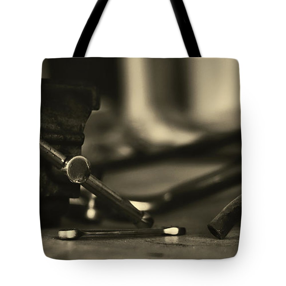 Workbench Tote Bag featuring the photograph Workbench by Kt Photography