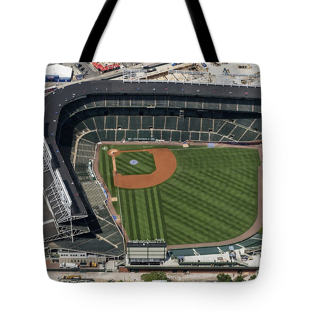 Wrigley Field Tote Bag featuring the photograph Wrigley Field In Chicago Aerial Photo by David Oppenheimer