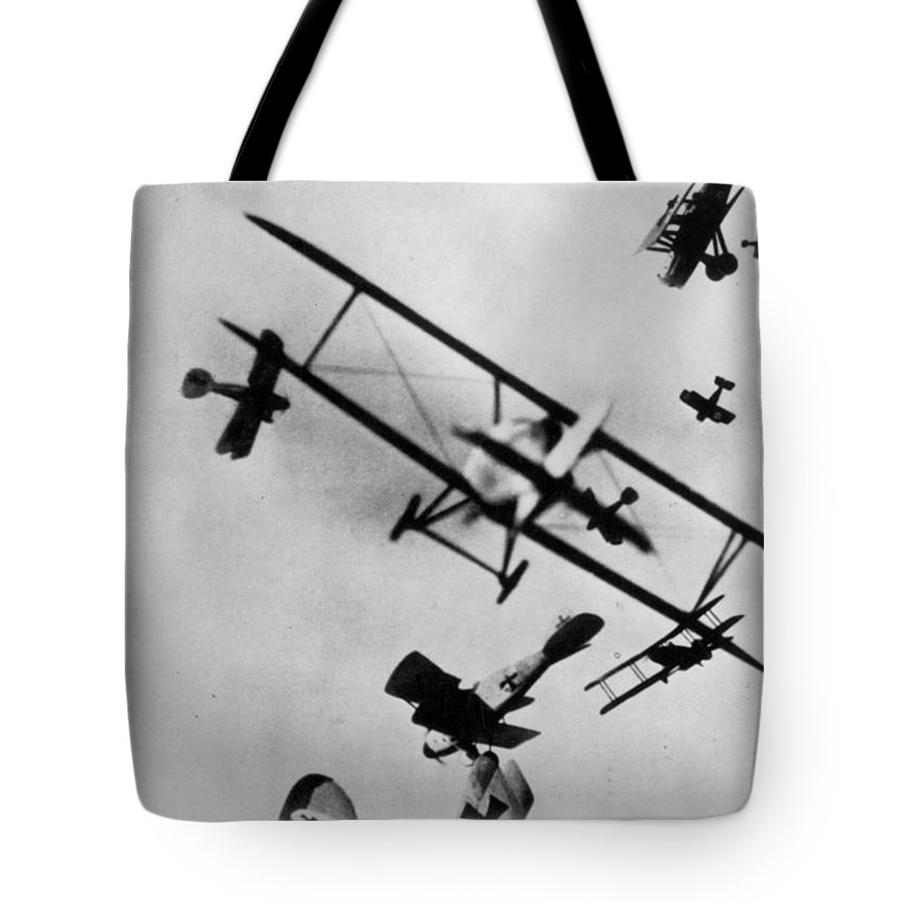 1910s Tote Bag featuring the photograph Wwi: Dogfight by Granger