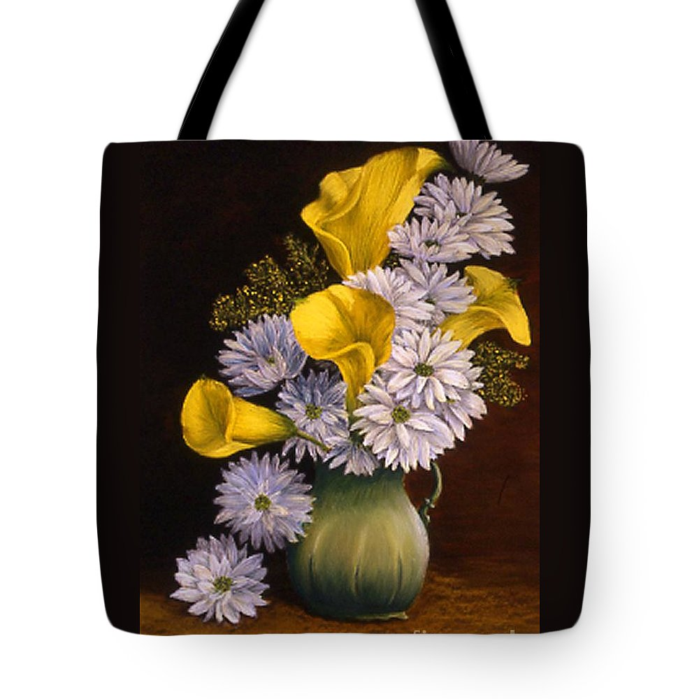 Still Life Tote Bag featuring the painting Yellow Calla Lilies In A Green Pitcher by Mary Erbert