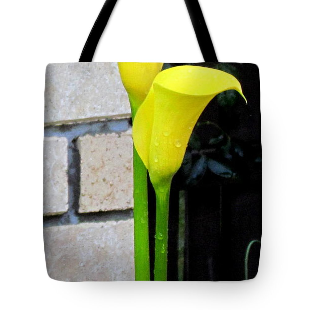 Flower Tote Bag featuring the photograph yellow Lily. by Joyce Woodhouse