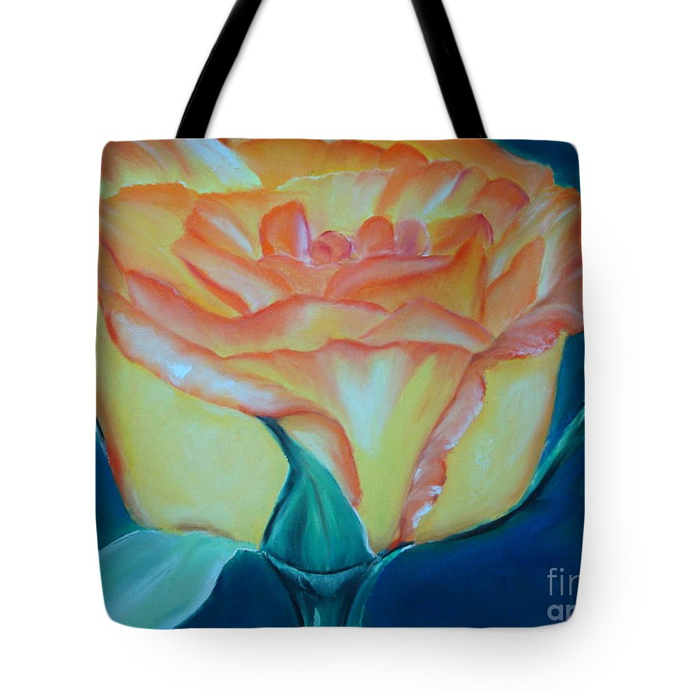 Rose Tote Bag featuring the pastel Yellow Rose by Melinda Etzold