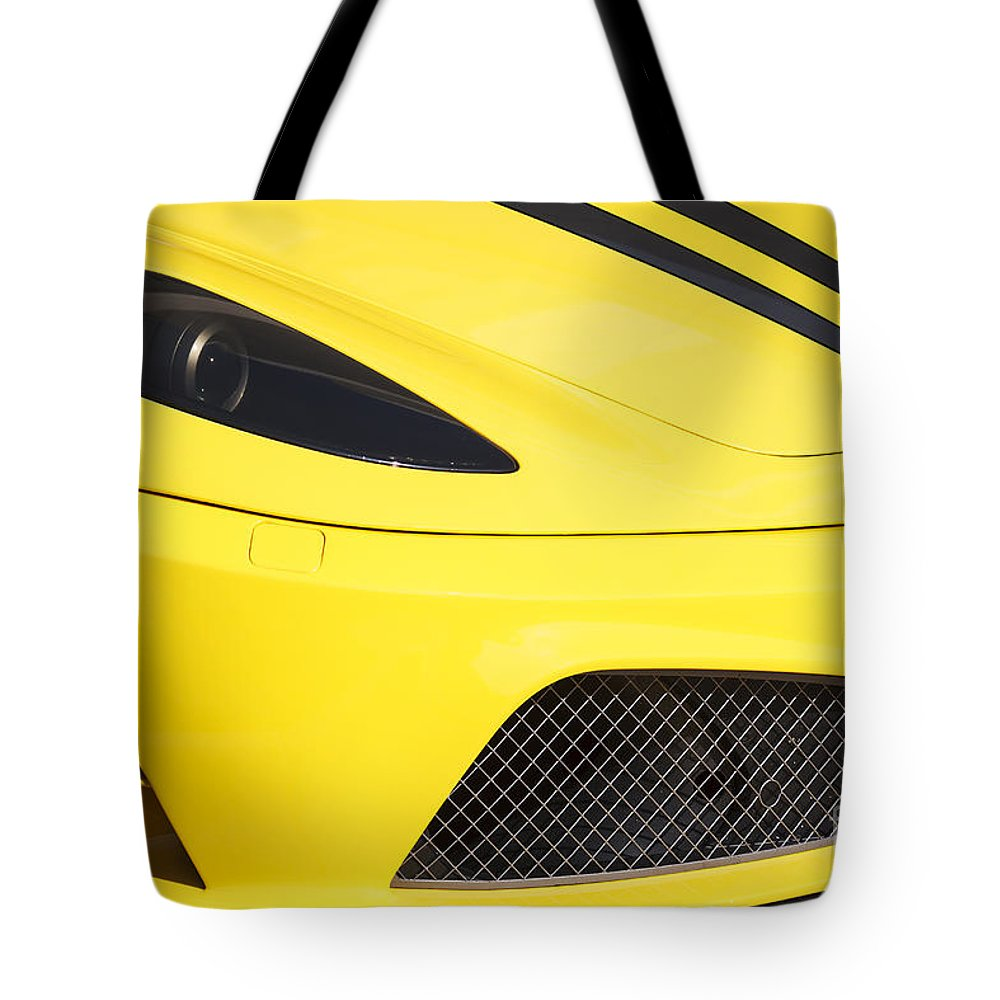 Ferrari Tote Bag featuring the photograph Yellow Stradale by Dennis Hedberg