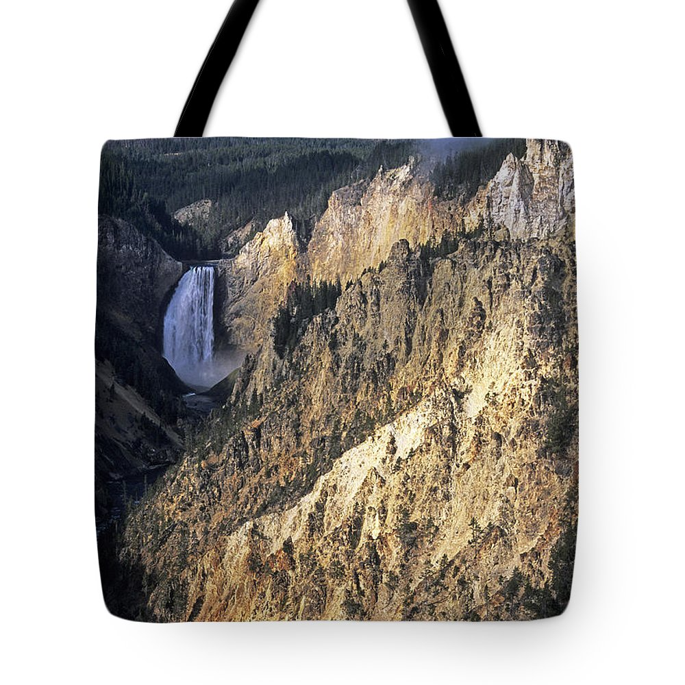Scenic Tote Bag featuring the photograph Yellowstone Falls by Doug Davidson