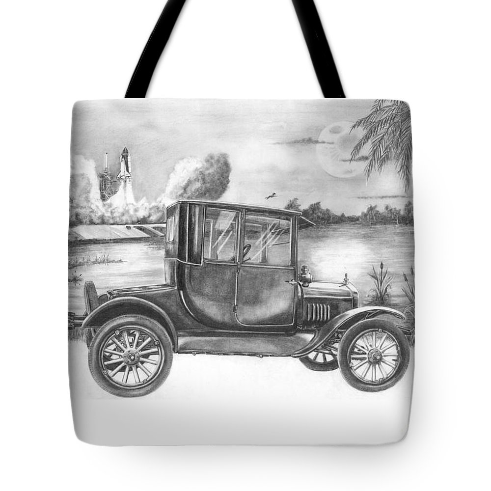 Pencil Tote Bag featuring the drawing Yesterday And Today by Murphy Elliott