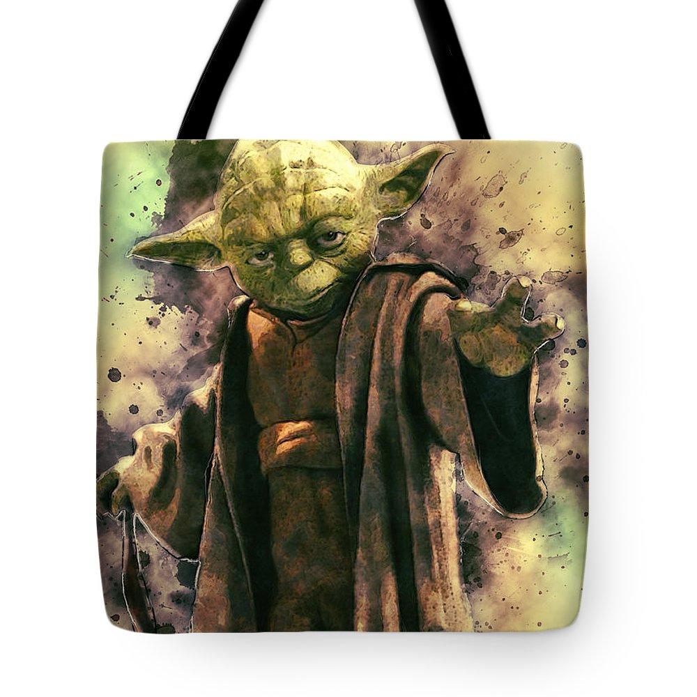 Yoda Tote Bag featuring the digital art Yoda by Zapista Zapista