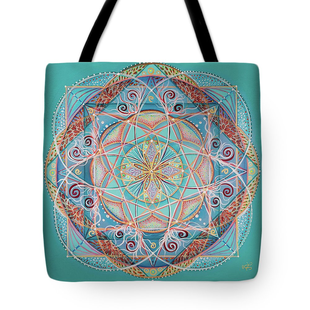 Mandala Tote Bag featuring the painting Yogi By The Sea by Angel Fritz