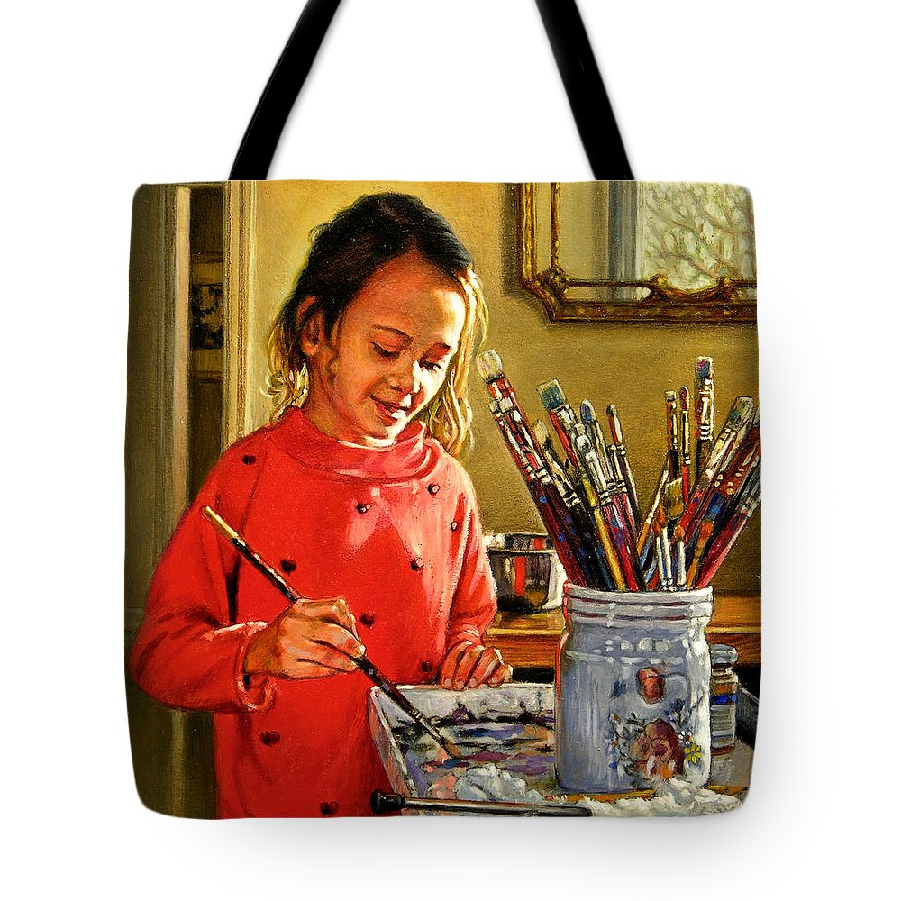 Young Girl Painting Tote Bag featuring the painting Young Artist by John Lautermilch