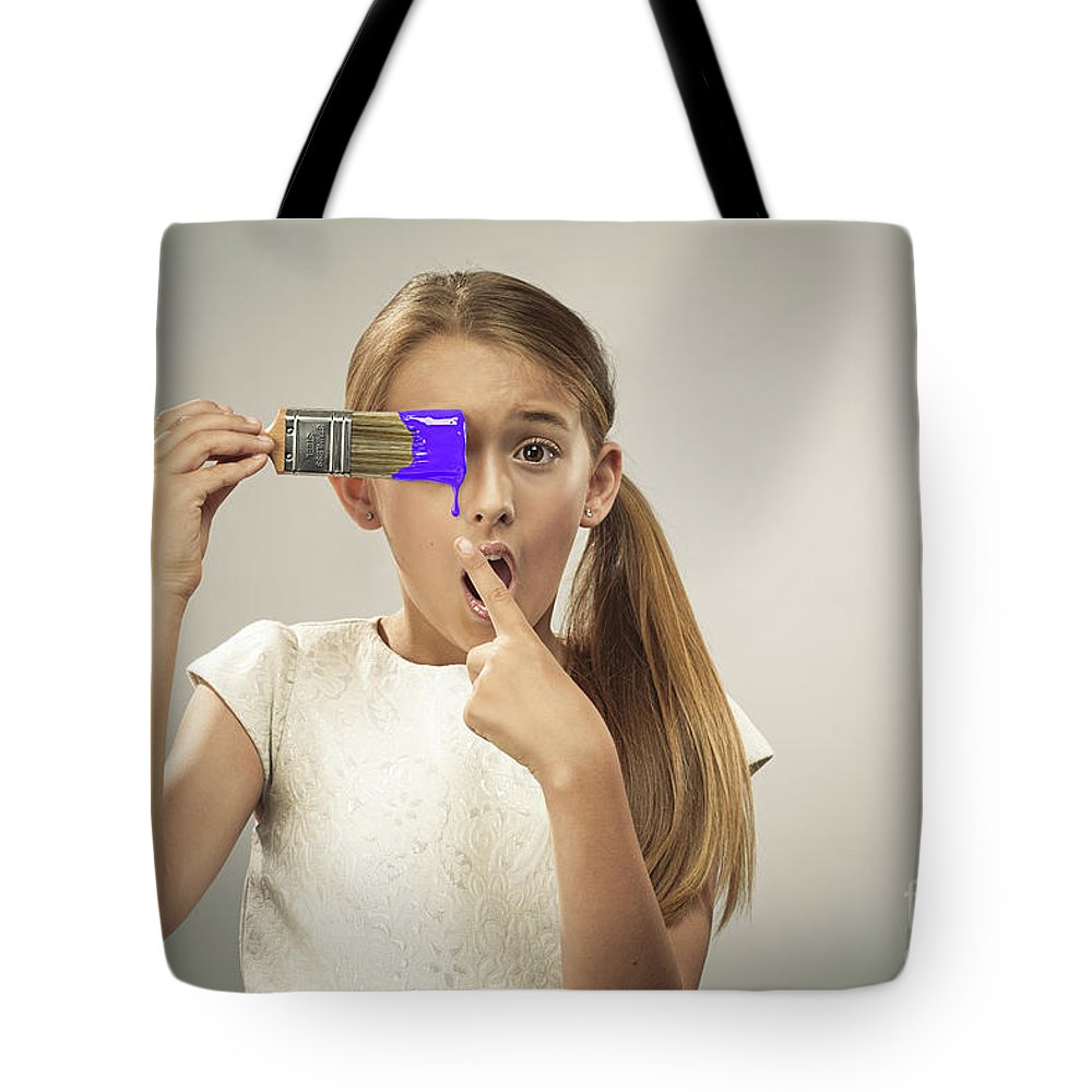 Young Tote Bag featuring the photograph Young Girl With Paintbrush by Amanda Elwell
