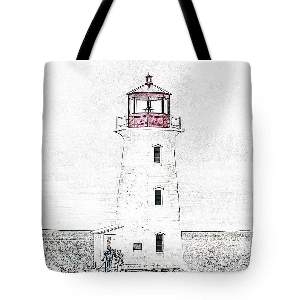 Lighthouse Tote Bag featuring the mixed media You're My Beacon Peggy's Cove Lighthouse by Betsy Knapp