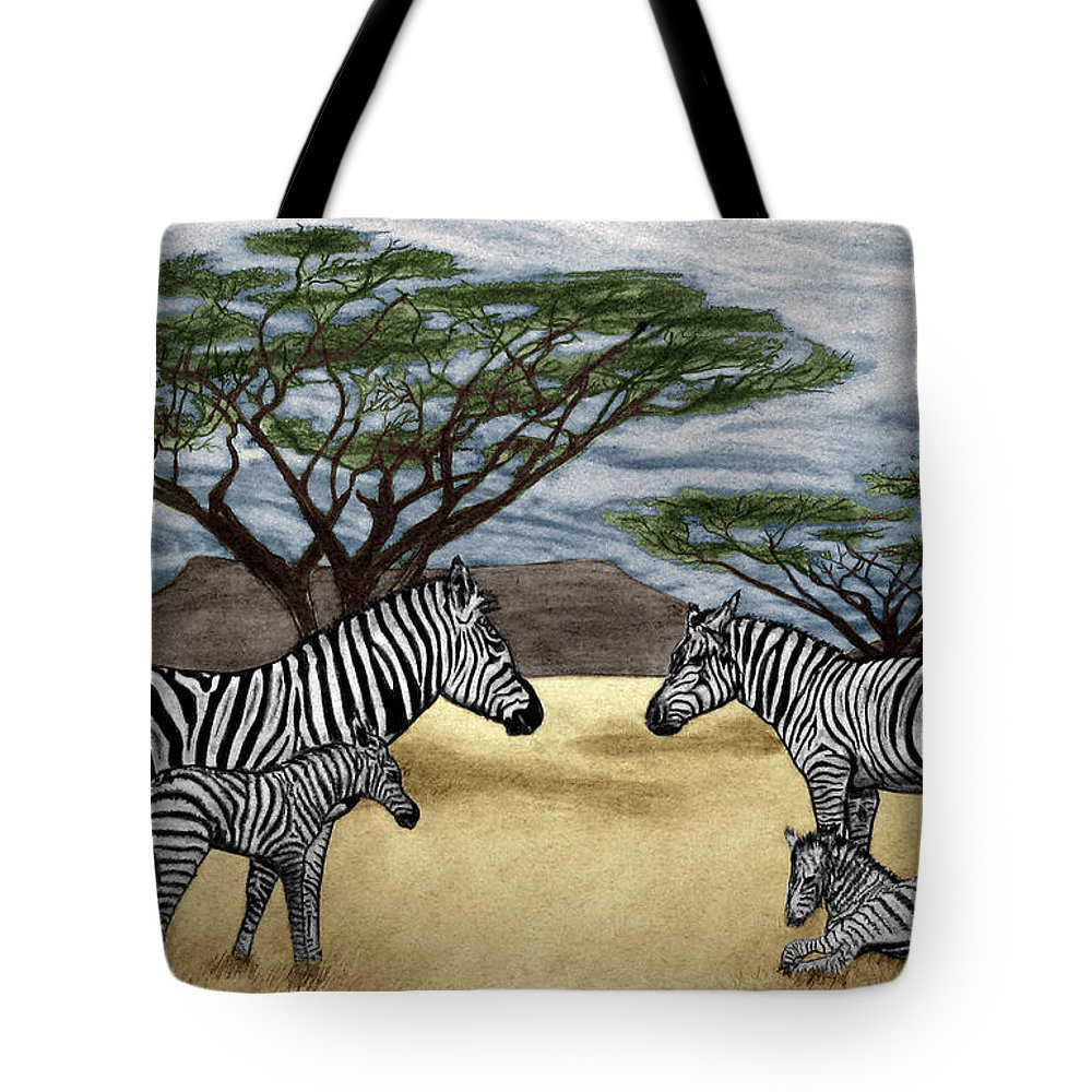 Zebra African Outback Tote Bag featuring the drawing Zebra African Outback by Peter Piatt