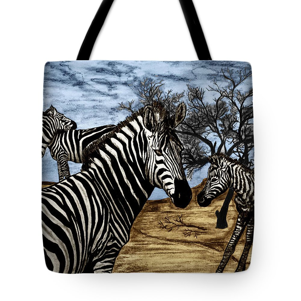 Zebra Outback Tote Bag featuring the drawing Zebra Outback by Peter Piatt