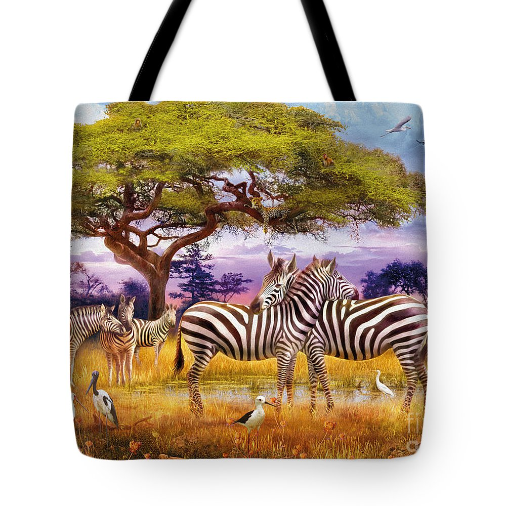 Africa Tote Bag featuring the digital art Zebras by MGL Meiklejohn Graphics Licensing