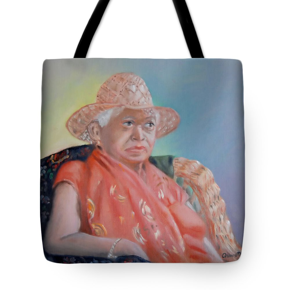 Portraits Tote Bag featuring the painting Zelda by Quwatha Valentine