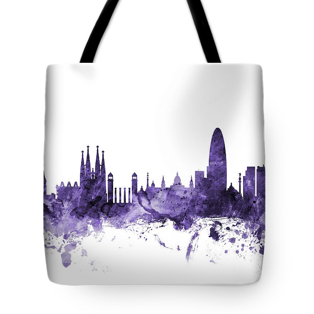 6af2cfa0d Barcelona Tote Bag featuring the digital art Barcelona Spain Skyline by Michael  Tompsett