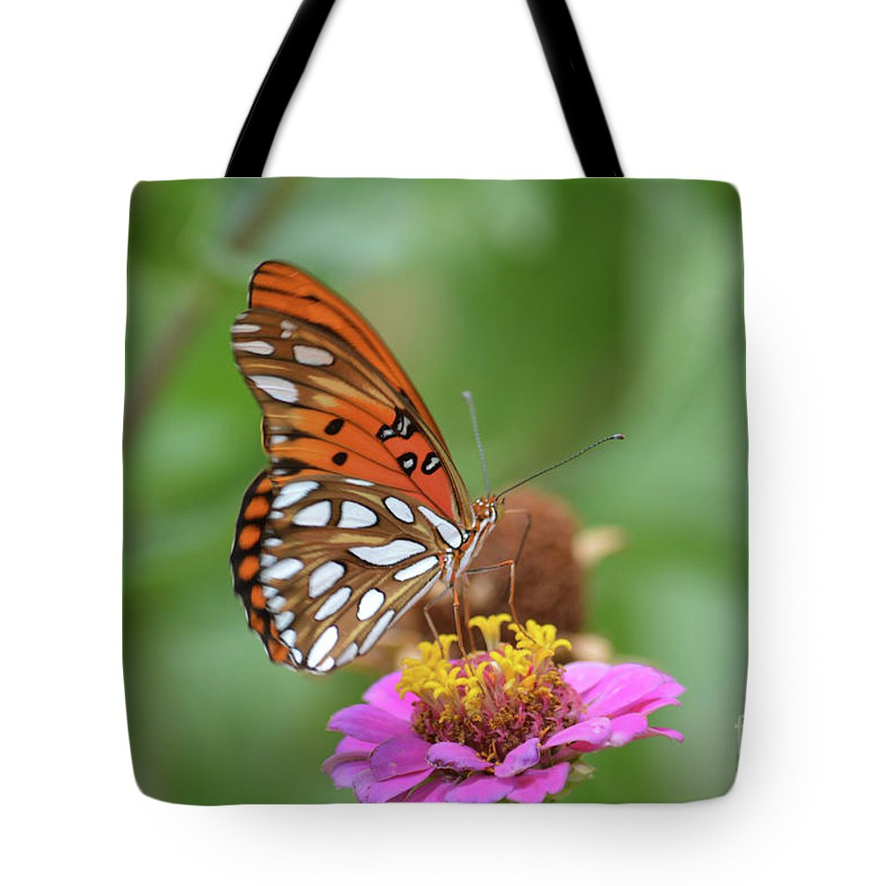 Gulf Fritillary Butterfly Prints Tote Bag featuring the photograph Gulf Fritillary Butterfly by Ruth Housley