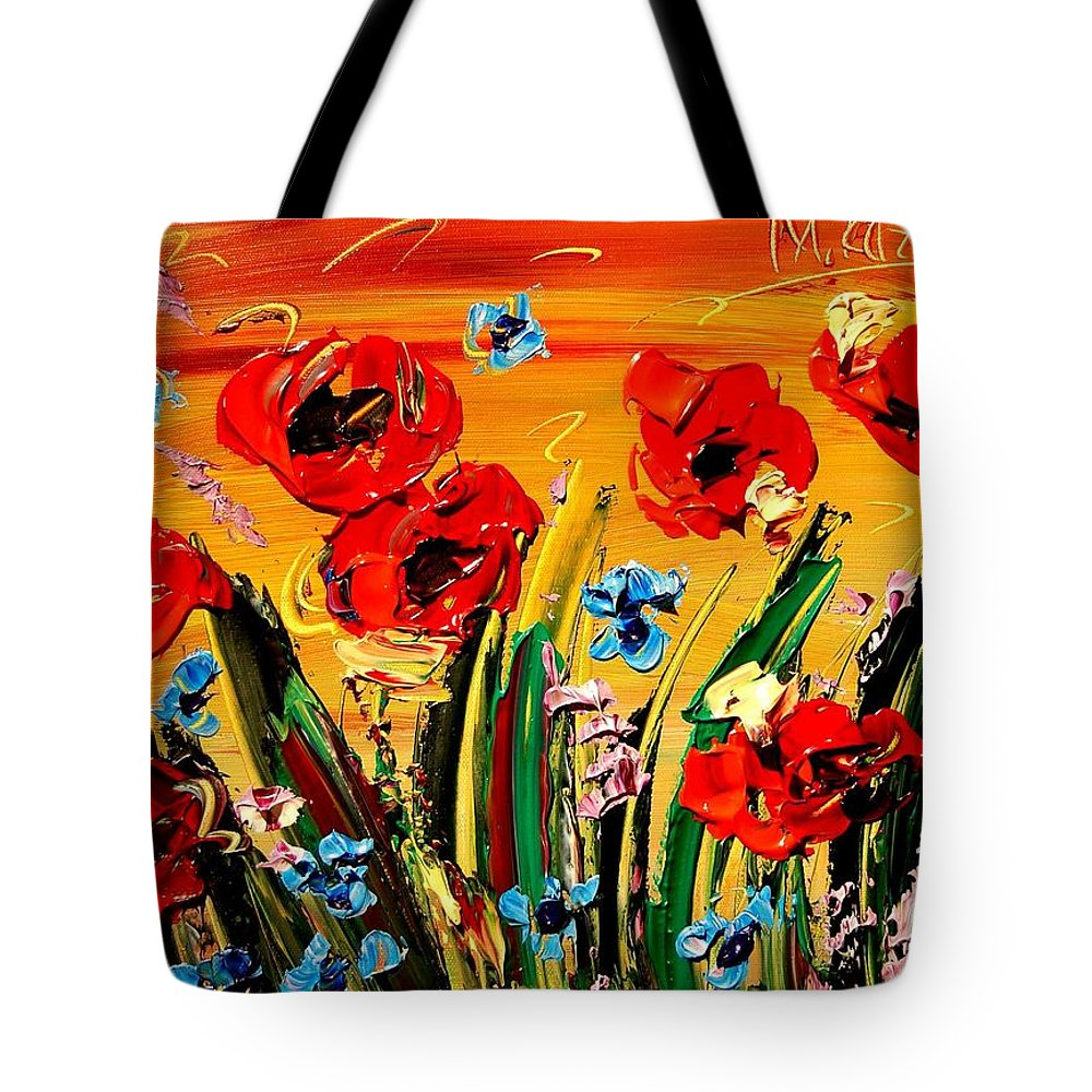 Impressionist Framed Prints Tote Bag featuring the mixed media Poppies by Mark Kazav