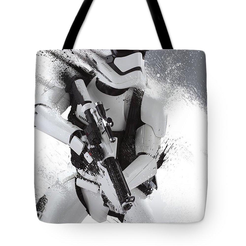 Star Wars Tote Bag featuring the digital art Star Wars Episode Vii - The Force Awakens 2015 by Geek N Rock