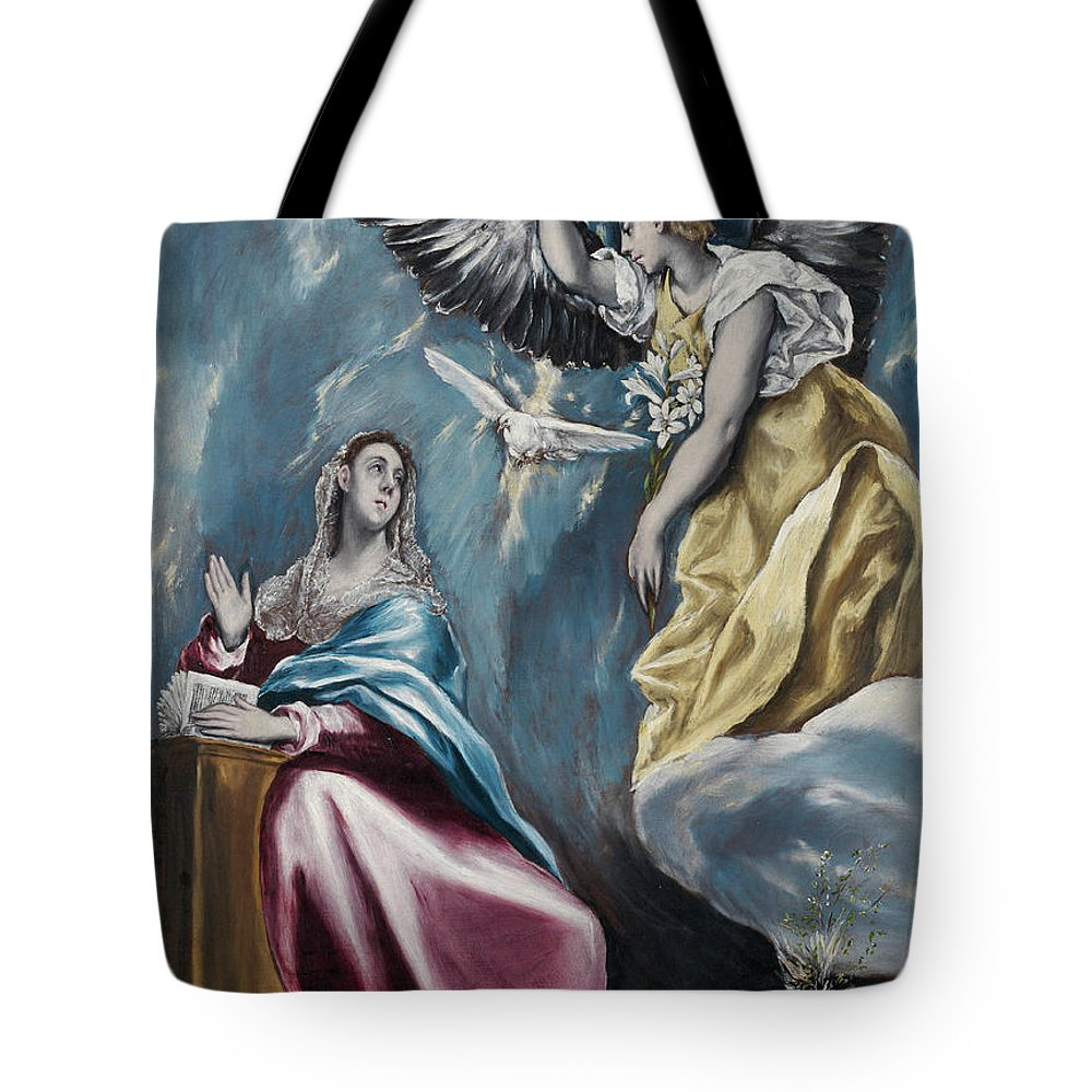 Annunciation Tote Bag featuring the painting The Annunciation by El Greco