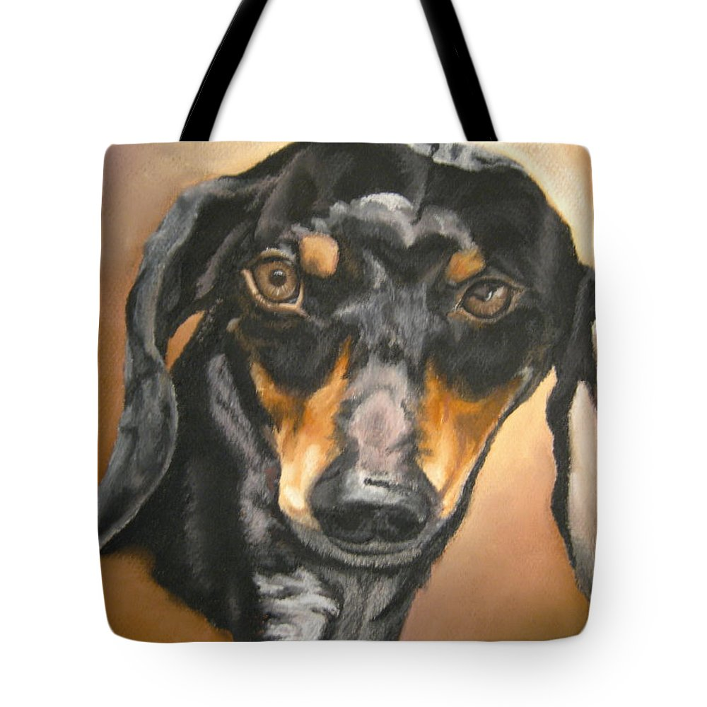 Dachsund Tote Bag featuring the pastel Untitled by John Huntsman