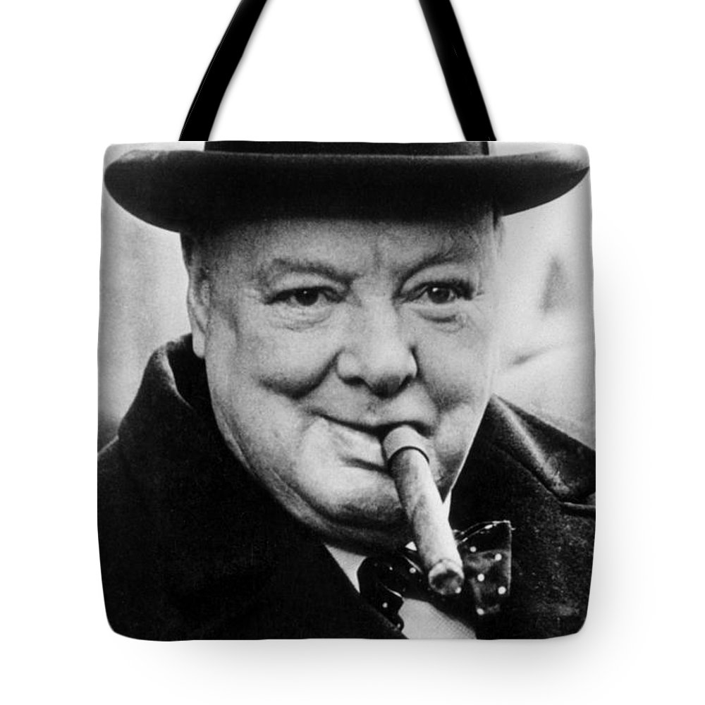 Churchill Tote Bag featuring the photograph Winston Churchill by English School