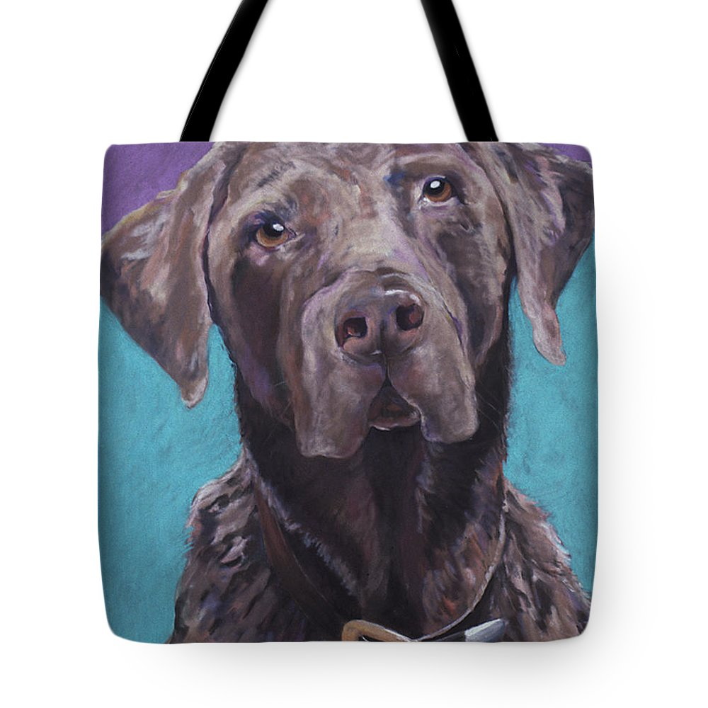 Pet Portrait Commissions Tote Bag featuring the pastel 100 Lbs. Of Chocolate Love by Pat Saunders-White