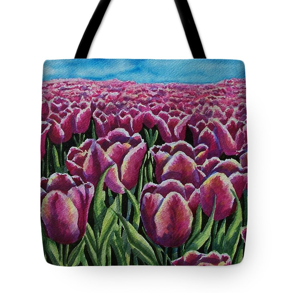 Tulips Tote Bag featuring the painting 1000 Tulpis by Conni Reinecke