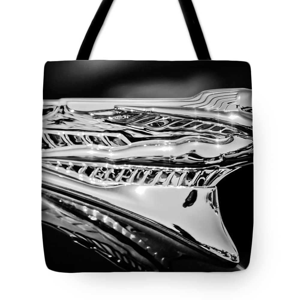 1946 Desoto Tote Bag featuring the photograph 1946 Desoto Hood Ornament -169bw by Jill Reger