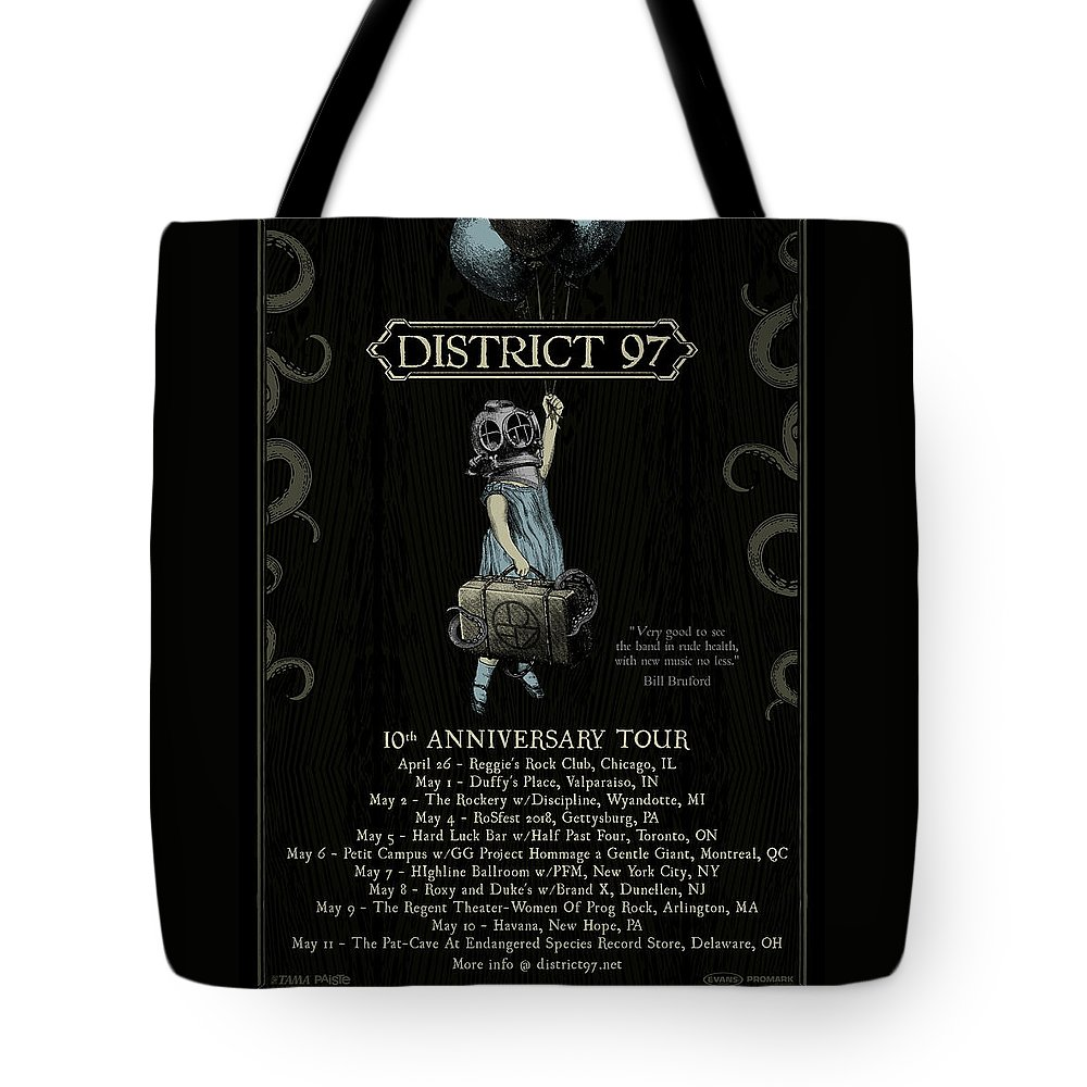 Tote Bag featuring the digital art 10th Anniversary Tour by District 97
